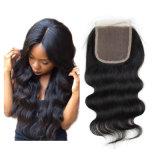 Il Toupee peruviano dei capelli umani dei capelli dei capelli della parte di colore dell'onda naturale centrale del corpo per le donne