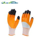 Двойной ближний свет природных нитриловые перчатки с покрытием Reiforced палец