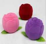 Rose forma de plástico de color flocado anillo cajas