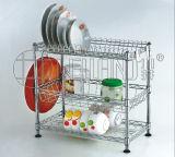 Шкаф держателя тарелки кухни провода металла крома 3 ярусов с патентом