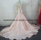 La robe de bal d'étudiants de Champagne rectifie la robe de mariage réelle arabe de Dubaï de longues chemises W2014