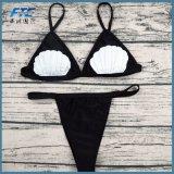Черный способ 2 треугольника Бикини части Swimsuit Swimwear