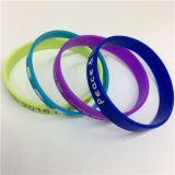 Bracelete personalizado única cor impresso simples do silicone da forma