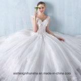 Prinzessin Lace Flower V-Muffe Sleeveless Fußboden-Länge Hochzeits-Kleid