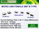 Micro-USB женского SMT B разъема типа, срок службы: 10 000 циклов, вкладывания сил: 35n Max. Эвакуационных сил: 8n Min.
