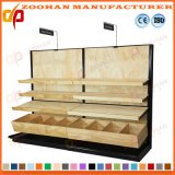 Métal et aménagement de mur en bois de gondole d'étalage de supermarché d'étagères (Zhs429)