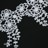 カーテンのウェディングドレスのための乳白色およびポリエステルヒマワリの葉のふさのオフホワイトのトリミングのレースファブリック