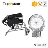 Sedia a rotelle manuale d'acciaio pieghevole di lusso di Topmedi