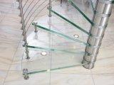 Escadaria espiral de vidro de aço com passo de vidro