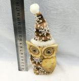 Juguete Owl Figurilla de cerámica con tapa Santa estatuas de animales para el hogar