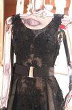 Черная мантия венчания партии вечера Ballgown шнурка одевает Wgf143