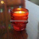 カラーの頭骨の小グラスの蝋燭ホールダー