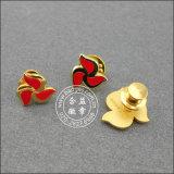 硬貨の柔らかいエナメルの折りえりPinのスタンプのロゴのバッジ(GZHY-SE-001)