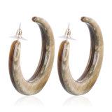 계산서 굴렁쇠 플라스틱 유리 방풍 유리 플라스틱 거북 대리석 귀걸이 거북 쉘 굴렁쇠 귀걸이 브라운 보석 끝없는 굴렁쇠 포스트 귀걸이