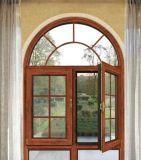 Guichet en aluminium de tissu pour rideaux de couleur en bois moderne avec le gril arqué de dessus et de décoration (ACW-011)