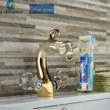 Misturador de bronze dourado da bacia do dragão para o banheiro