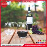 Tritan sin BPA de vidrio, plástico Stemless vino copa de vino