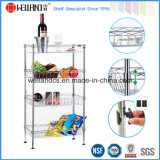 DIY Chrome Kitchen Metal Wire Basket Trolley Rack com rodas de nylon