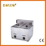 Кухня в коммерческих целях двойных гидробаков стола 10+10 литр газа глубокую цыпленок картофеля во фритюрницу стружки 2 Корзина