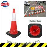 Aviso de estrada de plástico PE refletivo Cone de tráfego com base em borracha
