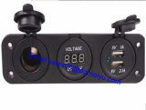 USB Flush Mount Socket di 12V Cigarette Lighter Plug+ Digital ampère Voltmeter Marine Car