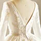 Abito di cerimonia nuziale nuziale di cristallo del vestito dal raso lungo del manicotto