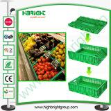Grande Supermercado Compartimentos dobrável de plástico para produtos hortícolas e frutas