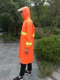 Sicherheits-Nylon-Polyester-reflektierende lange Regenkleidung mit vorderer Tasche