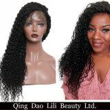 아기 머리 전 뽑아진 브라질 Remy 머리를 가진 흑인 여성 사람의 모발 가발을%s 꼬부라진 360의 레이스 정면 가발