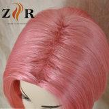 분홍색 색깔 합성 머리 가발