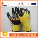 Ddsafety 2017 Jauge 13 Shell en nylon noir jaune enduction nitrile gants