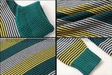 Chandail en laine à lacets à rayures à manches longues à col roulé