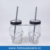 Tazza libera del cactus con il vaso di muratore di vetro del coperchio del metallo