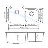 Double bassin de cuisine de cuvette avec l'installation d'Undermount (7345AL)