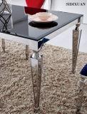 Jantando Table+Chair/jantando a tabela de jantar da mobília/aço inoxidável + a cadeira/tabela de vidro ajustada/a tabela de jantar Sj838+Cy038 ajustado