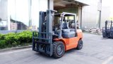 China principio marca carretilla elevadora 4 toneladas de gas/Gasline Carretilla con mástil triple