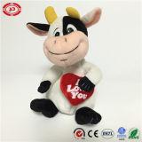 Jouet mignon se reposant bourré populaire neuf de vache à amour de coeur de peluche