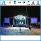 トラス装置を広告するイベントの背景幕