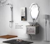 Cabinet reflété par salle de bains moderne blanche de conception de gravure en relief de mode de modèle d'acier inoxydable de ruban nouvelle (YB-918)