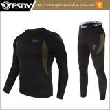Vestiti caldi di sport esterni del panno morbido termico tattico nero della biancheria intima