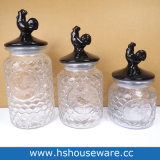 De Stijl van de haan met de Ceramische Reeks van de Kruik van het Glas van het Deksel, de Containers van het Glas