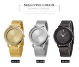 Les dames imperméabilisent la montre-bracelet pour des affaires simples de modèle de cadran d'acier inoxydable de femmes de Watchstrap du Japon PC21 de caisse ultra-mince d'alliage d'or, noire. Blanc