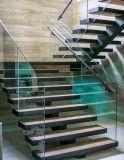 Diseño recto de la escalera con la pisada de madera
