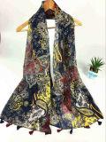 Style chaud 100%COTON Voile sentiment long foulard de mode d'impression