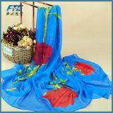 Sciarpa di seta chiffona della stampa di modo delle donne del fiore delle donne di seta degli scialli