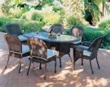 4-6 plazas jardín Clásico juegos de mesa de comedor de mimbre Wf050029
