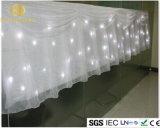 Décoration illuminée par les étoiles de noce de rideau en étoile de contexte d'étape de DEL