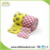 Veterinário fábrica auto-colante colorido bandagem elástica Coeso