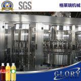 병에 넣어진 마시는 과일 주스 채우는 생산 라인 기계