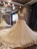 Vestido de casamento delicado luxuoso do laço do corpete de Aoliweiya